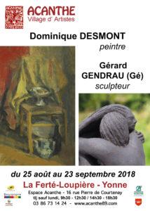 Exposition double D. Desmont, Peintre et G. Gendrau, Sculpteur @ Espace Acanthe